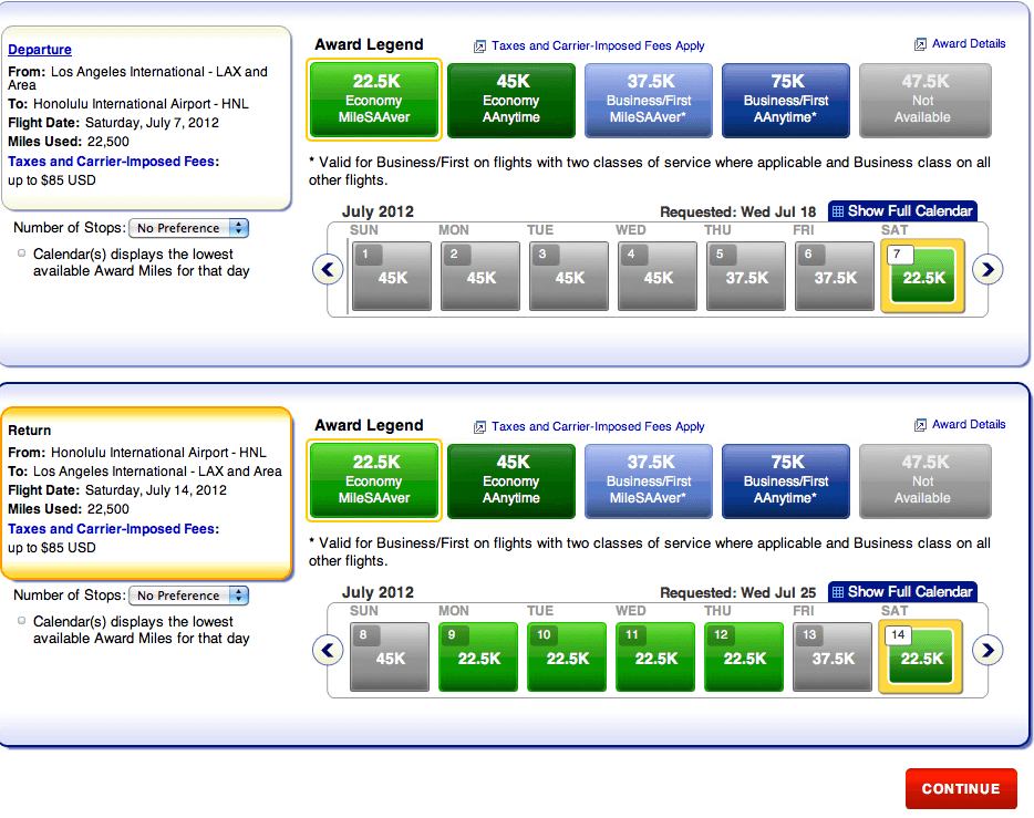 American AAdvantage MileSAAver Award Availability To Hawaii This Summer