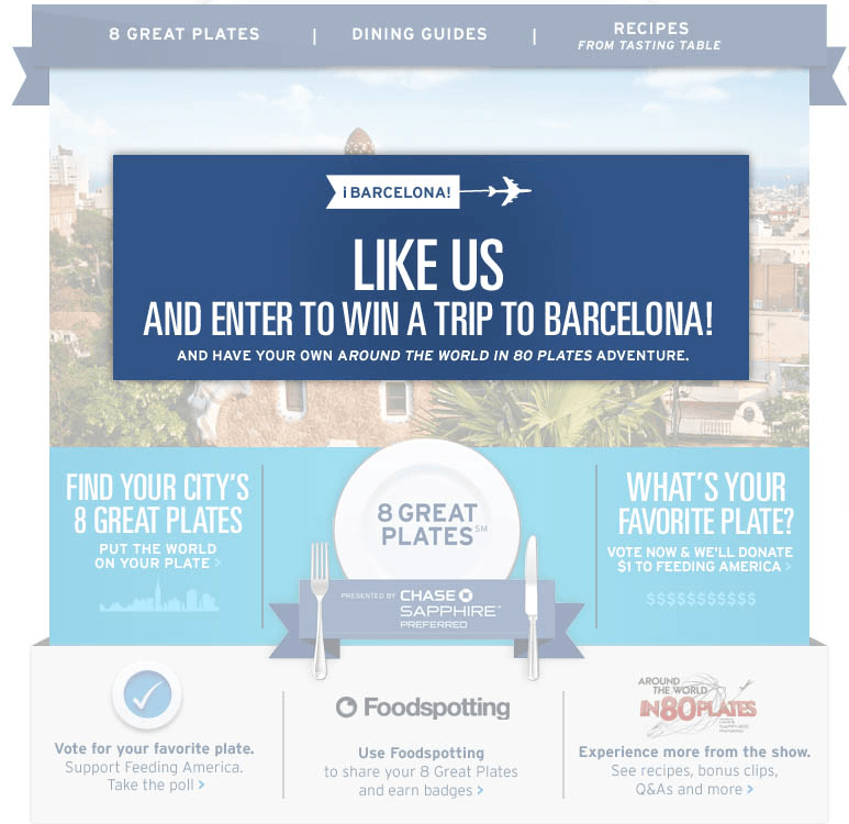 Win A Trip To Barcelona From 80 Plates