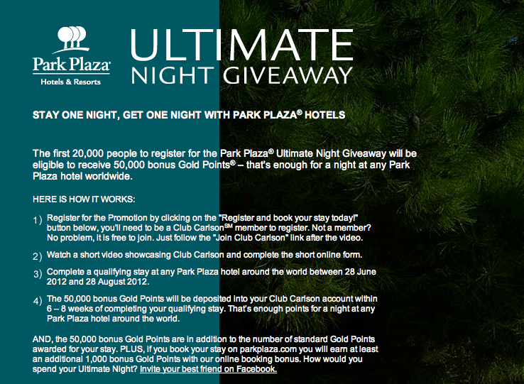 Park Plaza Ultimate Night Giveaway Club Carlson 50,000 points