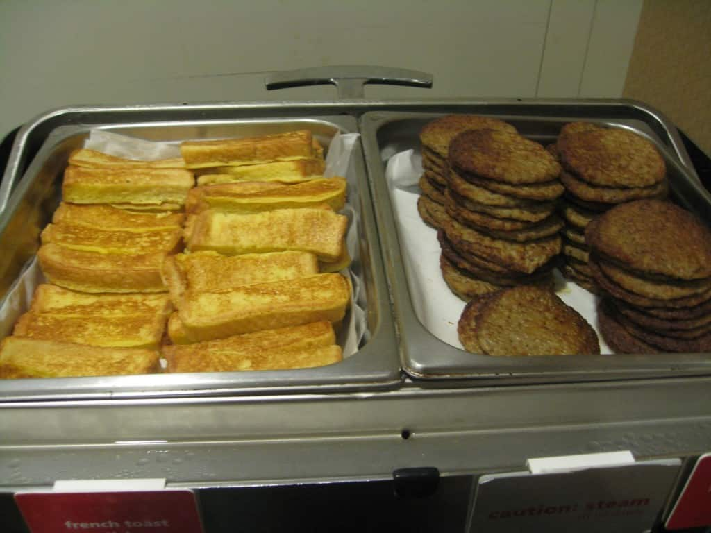 Hampton Inn La Guardia Airport french toast and sausages