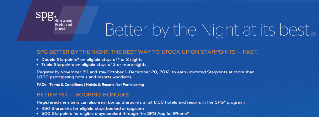 Starwood Better By The Night Promotion