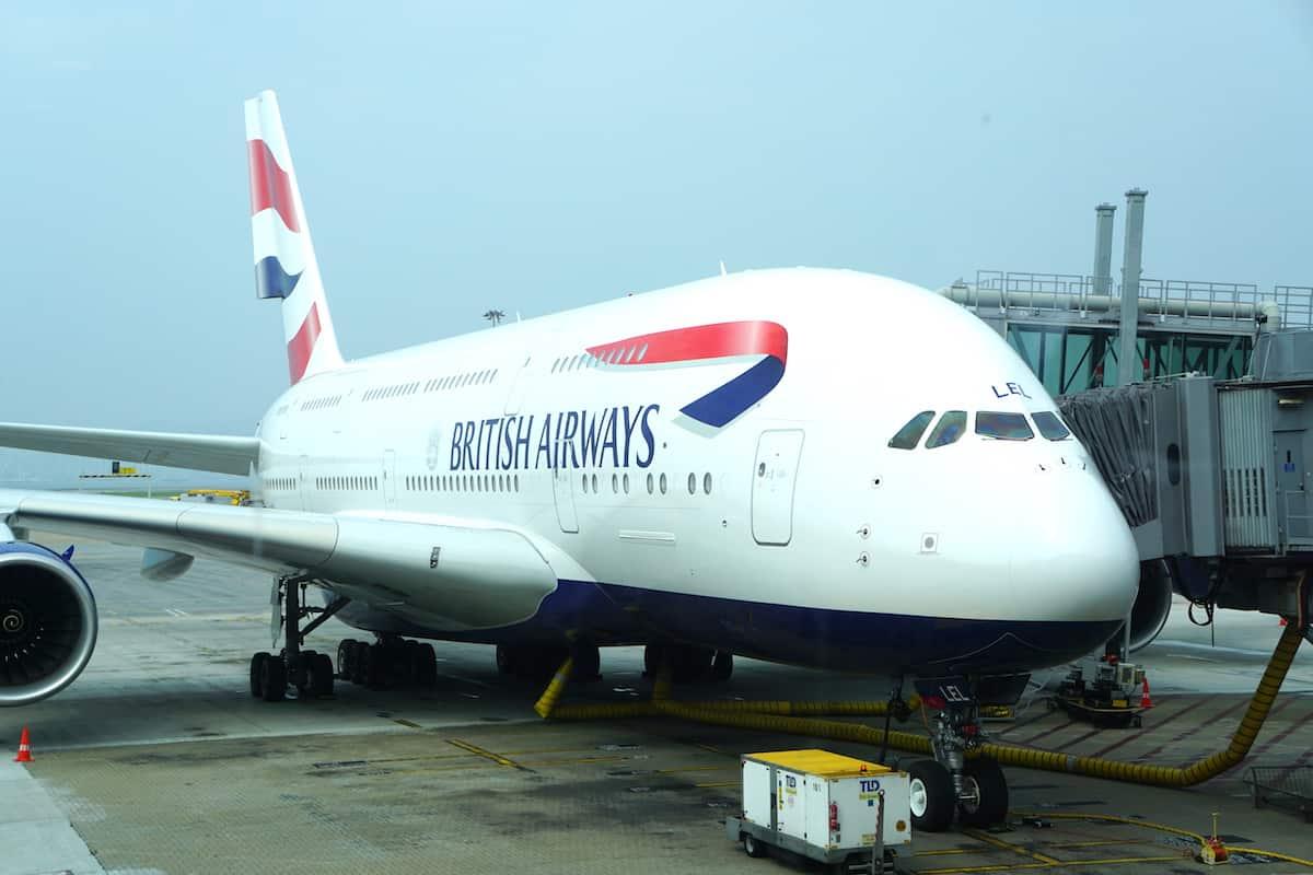 British Airways plane at airport gate