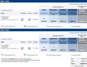 Miami to Quito $398.70 LAN