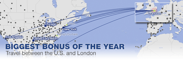 American Airlines biggest bonus of the year travel between US and London