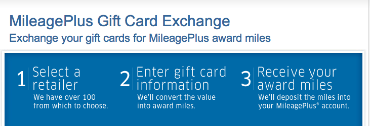 Exchange gift cards for miles