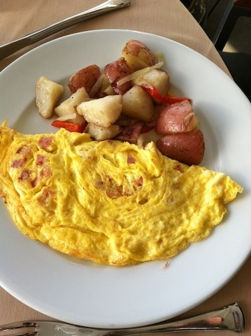 Andaz San Diego 3 egg ham and cheese omelette with breakfast potatoes