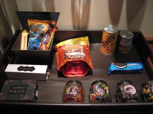 Andaz San Diego minibar snacks