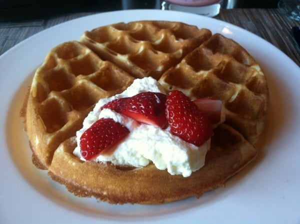 Fairmont Chateau Laurier Breakfast Buffet Belgian Waffle with Whipped Cream and Strawberries