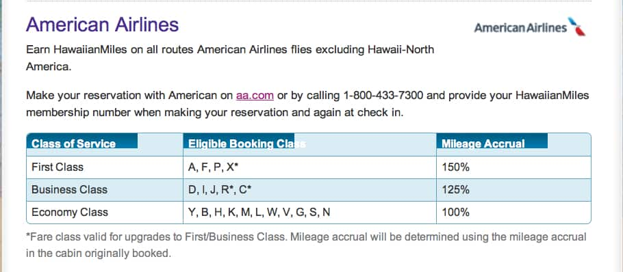 Hawaiian Airlines miles on American Airlines class of service bonus