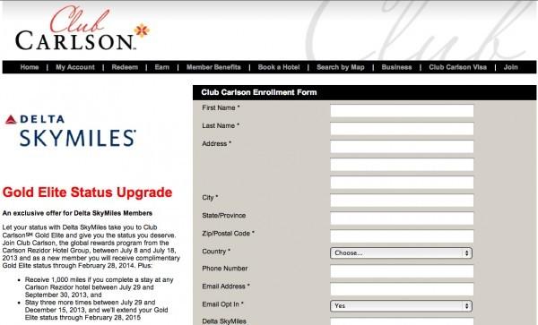 Free Club Carlson Gold Status, Delta SkyMiles