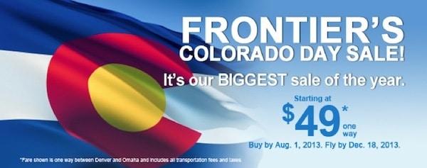 Frontier Colorado Day Sale
