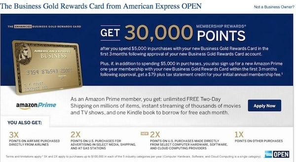 30,000 Points For American Express Business Gold