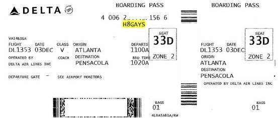 Delta Airlines H8gays Boarding Pass Snafu