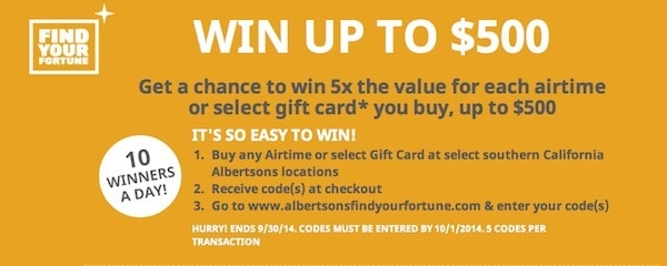 Buy a $100 Gift Card, Win a $500 Gift Card Albertsons Find Your Fortune Traveling Well For Less