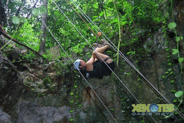 Rappelling at Luum Earth Xenotes Oasis Maya Traveling Well For Less