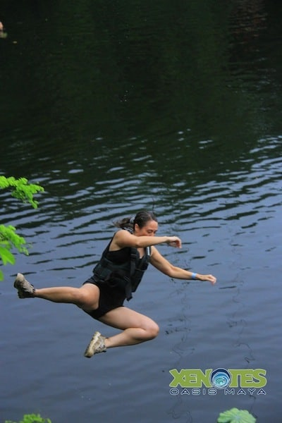 free falling from the zip line at Lik Xenotes Oasis Maya Traveling Well For Less