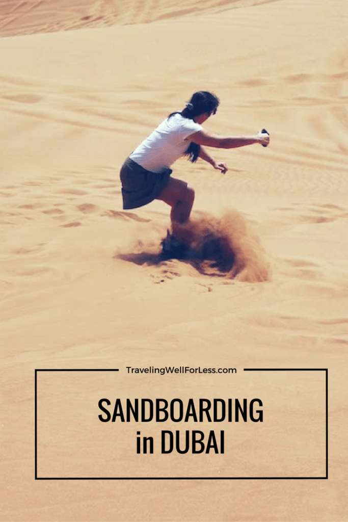 Conquering the sand dune. A victorious tale of sand boarding in Dubai. Click this pin to read the adventure https://www.travelingwellforless.com/2014/09/24/sandboarding-in-dubai/