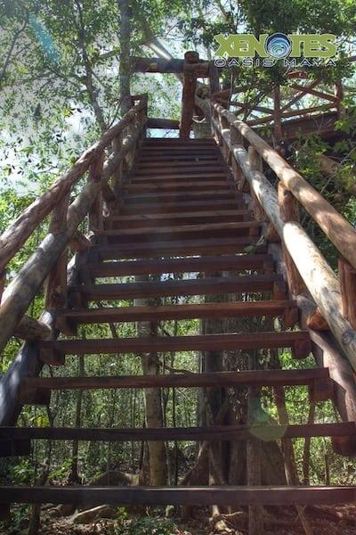 Zip line platform at Lik Xenotes Oasis Maya Traveling Well For Less