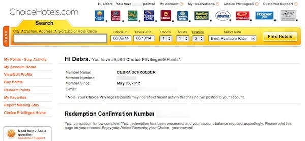 Confirmation Of Transferred Choice Hotel Points To Southwest Traveling Well For Less