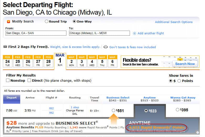 San Diego to Chicago 4651 points Traveling Well For Less