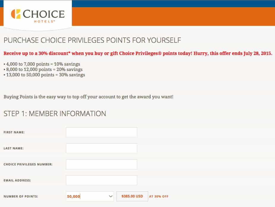 50,000 Choice hotel points for $385