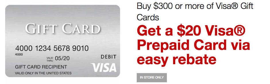Get 20 When You Buy 300 in visa gift cards at Staples