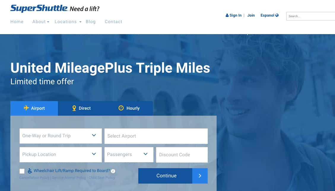 Use Super Shuttle and get 3X United Airlines miles