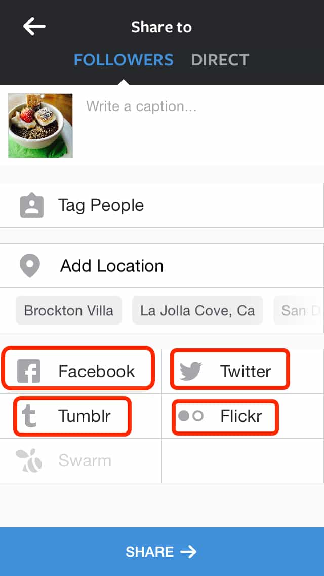 how to share instagram photos on facebook