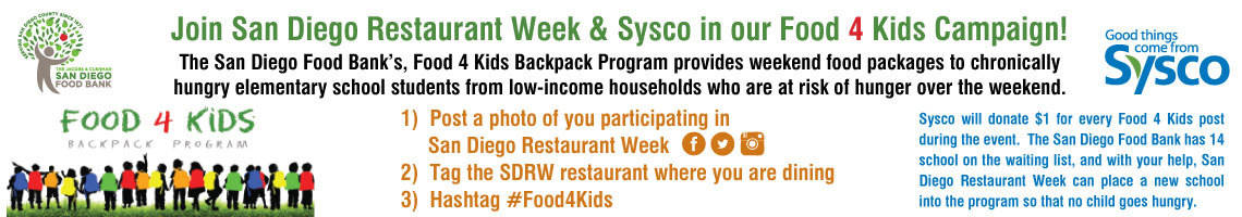 Food 4 Kids, San Diego Restaurant Week, Sysco