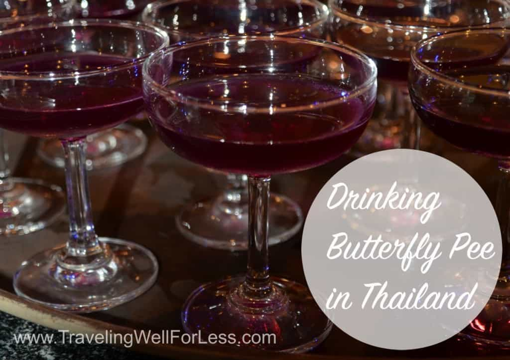 butterfly pea drink, Thailand, butterfly pea, Traveling Well For Less