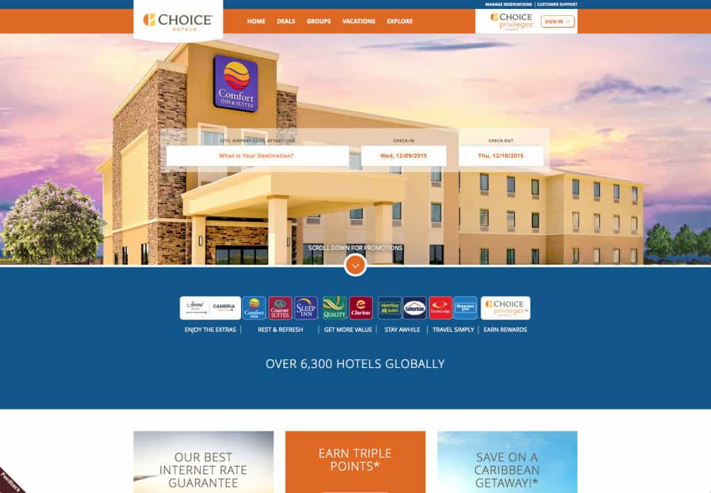 Choice hotels new website, transfer Choice points to Southwest