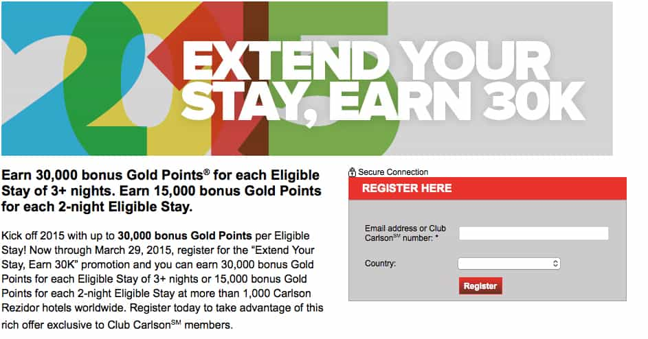 Register for Club Carlson Extend Your Stay, Earn 30K Each Stay Traveling Well For Less