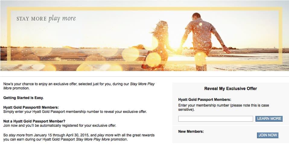 Register for Hyatt Stay More Play More Traveling Well For Less