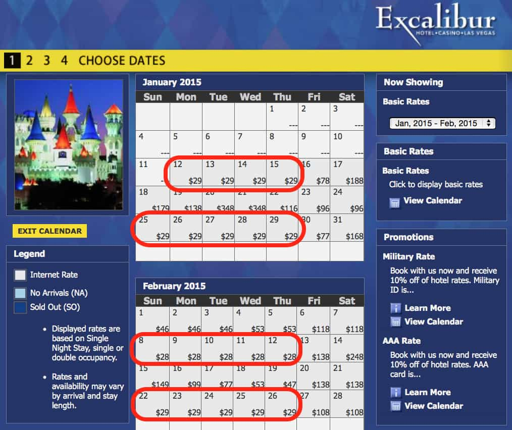 cheap rates at Excalibur Traveling Well For Less