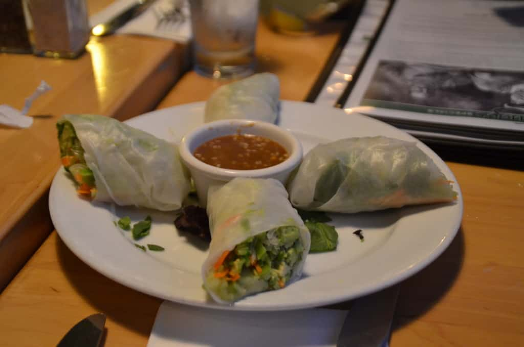Hugo's Restaurant's California take on an asian spring roll.These plump asian spring rolls were burrito sized. TravelingWellForLess.com