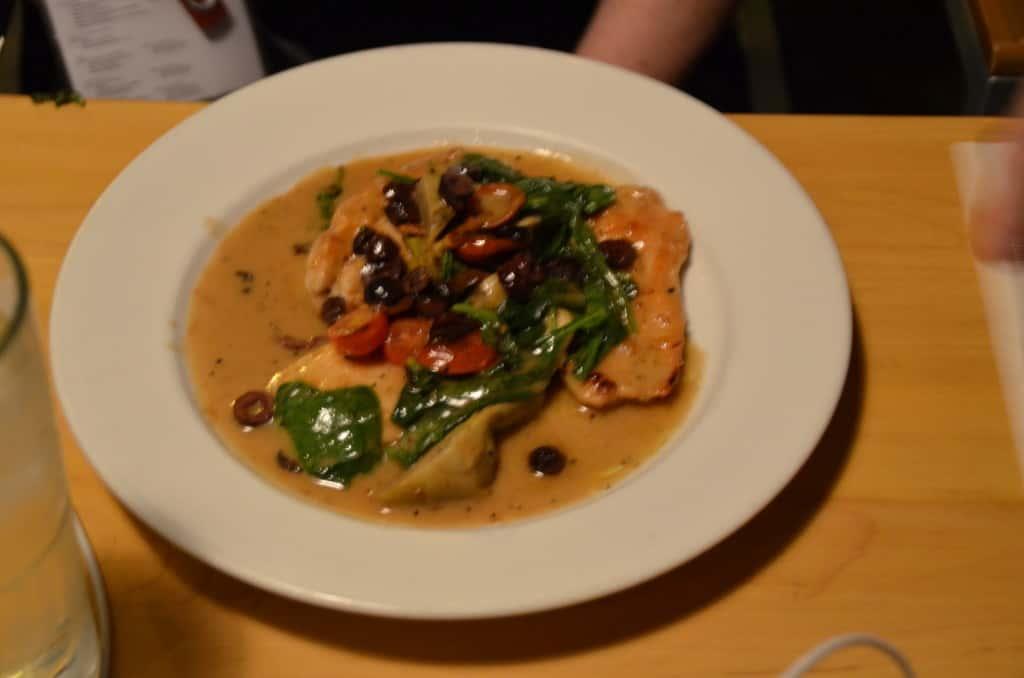 Chicken Carciofi at Hugo's Restaurant. Traveling Well For Less