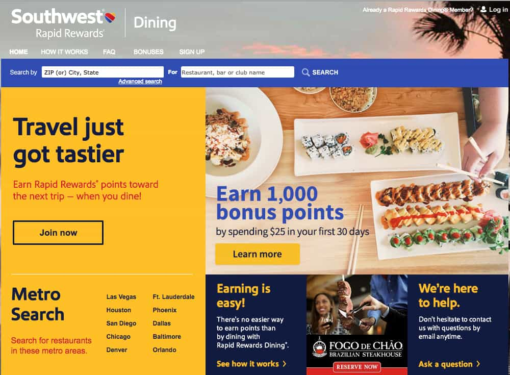 Going out to eat? Here's how to get a quick 1,000 Southwest points. TravelingWellForLess.com