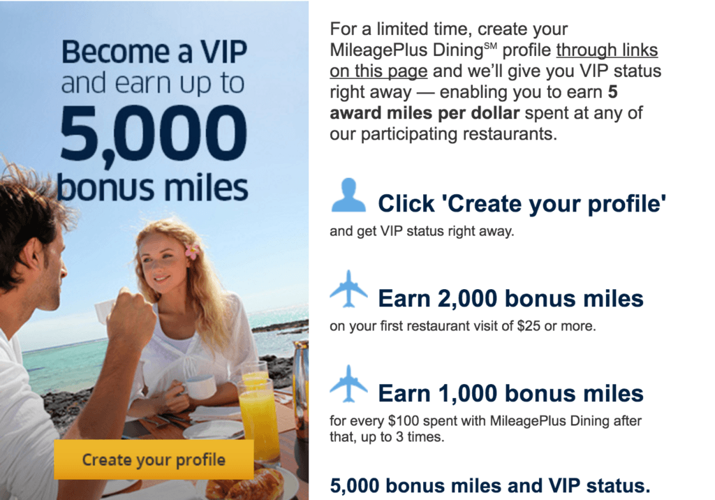 Get 5,000 United Airlines miles and elite status by joining the MileagePlus Dining program. TravelingWellForLess.com