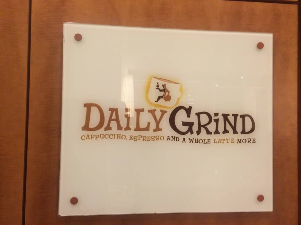 You can buy snacks, sandwiches, soup, drinks, and coffee at the Daily Grind in the Hyatt Regency McCormick Place. TravelingWellForLess.com