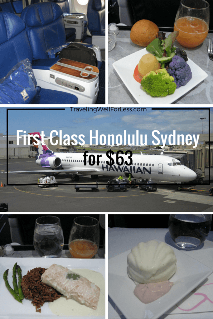 Two one-way First Class Hawaiian Airlines Honolulu Sydney flights cost $5,565. But we only paid $63. Read this post to find out how you can do it too. TravelingWellForLess.com