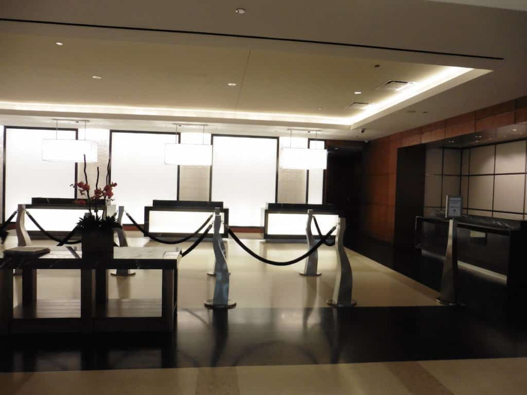 Modern streamlined lobby at the Hyatt Regency McCormick Place. TraveilngWellForLess.com