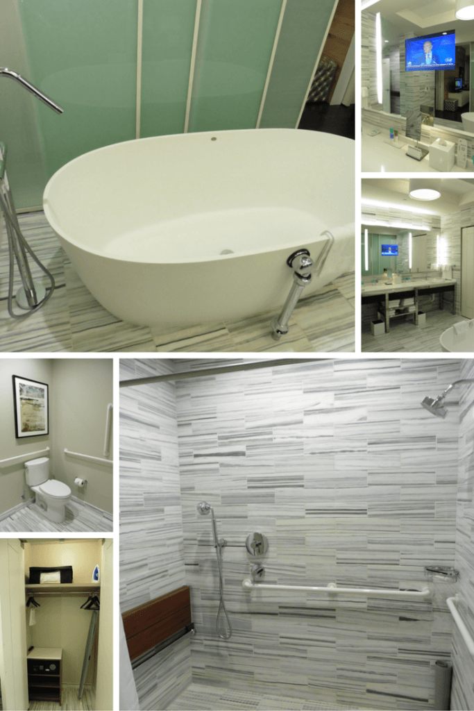 Sunken tub, TV, large shower, what more could you want from a bathroom in the Park Suite at the Hyatt Regency McCormick Place. TravelingWellForLess.com