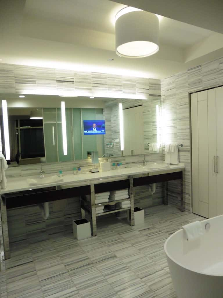 A sunken tub and generous shower add a nice touch to the Park Suite's modern and elegant bathroom. TravelingWellForLess.