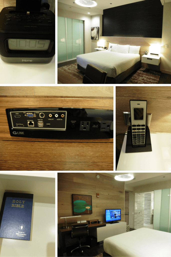 The bedroom in the Park Suite was generous. You can easily walk around the bed. But it might be a little tight near the desk if you have a wide wheelchair.