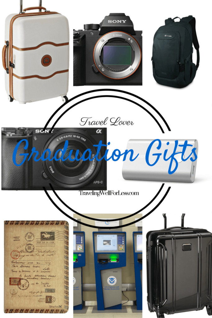 Looking for the perfect graduation gift? We've created a travel gift guide. Read our gift ideas for the graduate who loves to travel. Click to see the gift guide on TravelingWellForLess.com