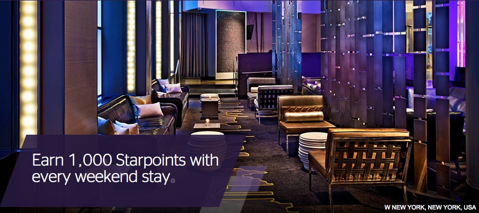 Get 1,000 points for a weekend stay at Starwood Traveling Well For Less