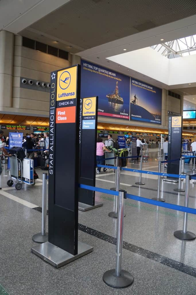 Lufthansa First Class check-in is at C in the Tom Bradley Terminal at LAX. TravelingWellForLess.com