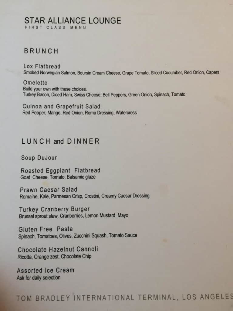 Additional items are available from a made to order menu in the Star Alliance First Class Lounge Los Angeles Airport. TravelingWellForLess.com