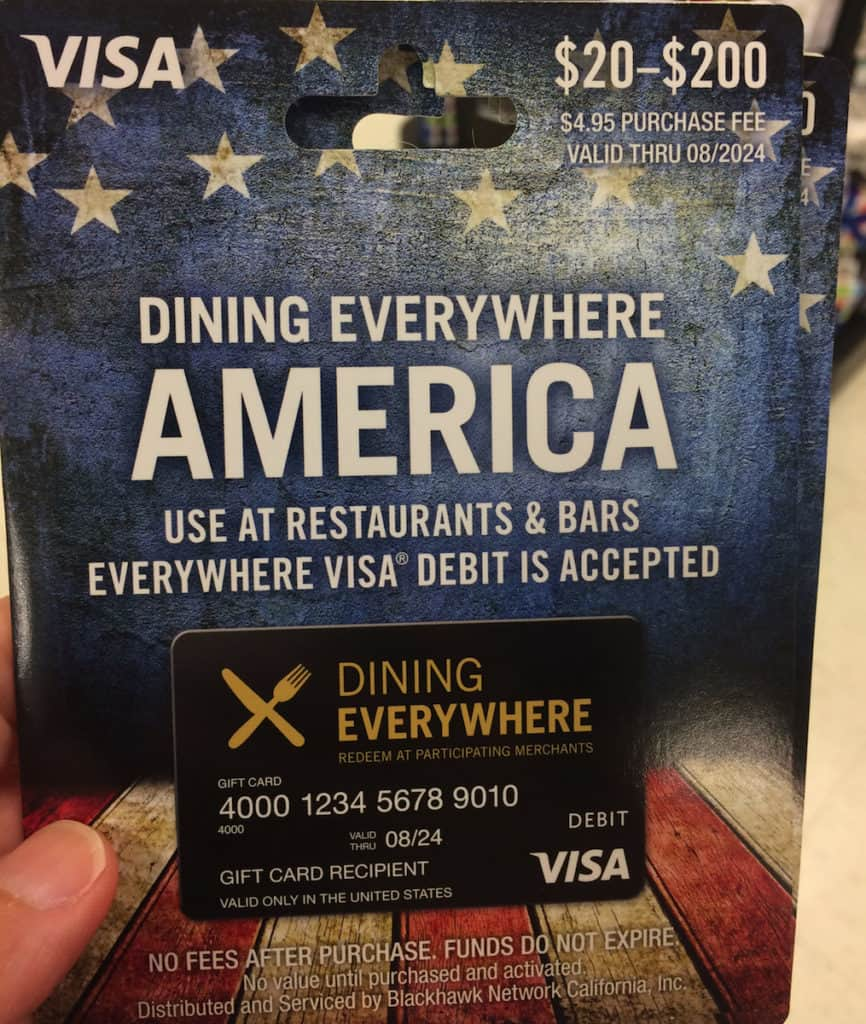 You can use the Dining Everywhere Prepaid Visa card at restaurants and bars and to buy money orders. https://www.travelingwellforless.com