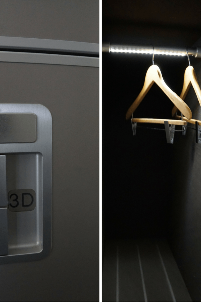 Each First Class passenger gets two closets. https://www.travelingwellforless.com